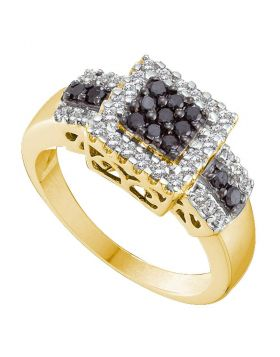 14kt Yellow Gold Womens Round Black Color Enhanced Diamond Square Cluster Ring 1/2 Cttw
