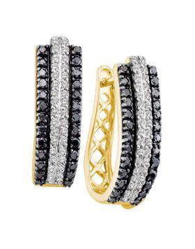 14kt Yellow Gold Womens Round Black Color Enhanced Diamond Triple Row Striped Hoop Earrings 1.00 Cttw