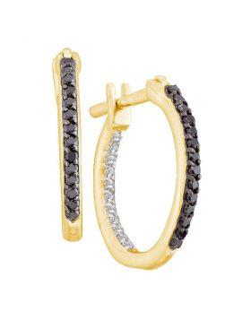14kt Yellow Gold Womens Round Black Color Enhanced Diamond Inside Outside Hoop Earrings 1/4 Cttw