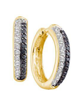 14kt Yellow Gold Womens Round Black Color Enhanced Diamond Hoop Earrings 5/8 Cttw