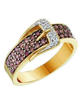 14kt Yellow Gold Womens Round Cognac-brown Color Enhanced Diamond Belt Buckle Band Ring 1/2 Cttw
