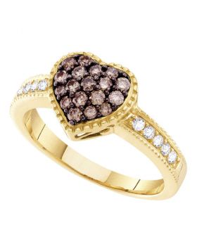 14kt Yellow Gold Womens Round Cognac-brown Color Enhanced Diamond Heart Cluster Ring 1/2 Cttw