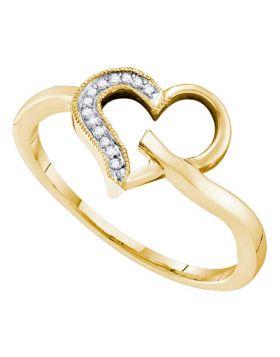 10kt Yellow Gold Womens Round Diamond Heart Love Ring 1/20 Cttw