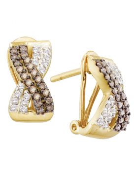14kt Yellow Gold Womens Round Brown Color Enhanced Diamond Crossover Hoop Earrings 1/2 Cttw