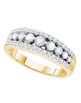 14kt Yellow Gold Womens Round Pave-set Diamond Triple Row Band Ring 3/4 Cttw