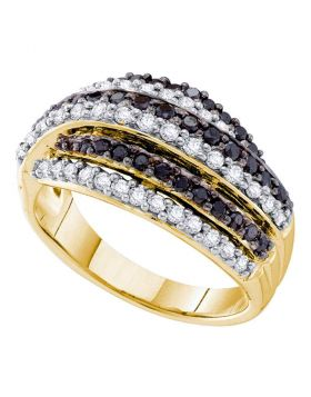14kt Yellow Gold Womens Round Black Color Enhanced Diamond Stripe Band 1.00 Cttw