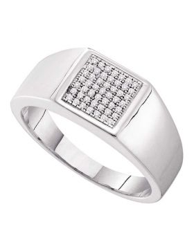 10KT WHITE GOLD ROUND DIAMOND SQUARE CLUSTER RING 1/6 CTTW