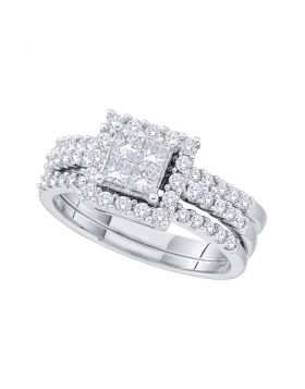14kt White Gold Womens Princess Diamond Bridal Wedding Engagement Ring Band Set 1.00 Cttw