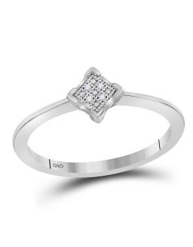 Sterling Silver Womens Round Diamond Simple Square Cluster Ring .01 Cttw