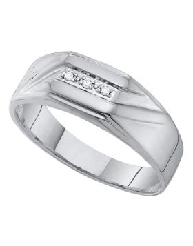 10KT WHITE GOLD ROUND DIAMOND GROOVED 3-STONE FLAG BAND RING .03 CTTW