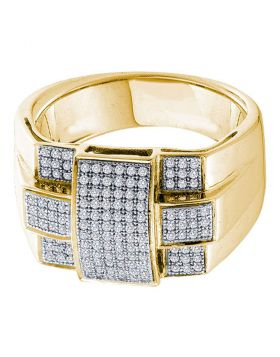 10KT YELLOW GOLD ROUND DIAMOND SQUARE CROSS CLUSTER RING 1/2 CTTW