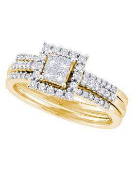 14kt Yellow Gold Womens Princess Diamond 3-Piece Halo Bridal Wedding Engagement Ring Band Set 1/2 Cttw