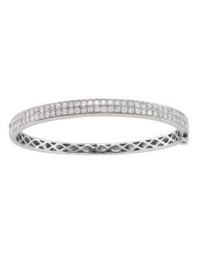 14kt White Gold Womens Round Diamond Classic Double Row Bangle Bracelet 2.00 Cttw