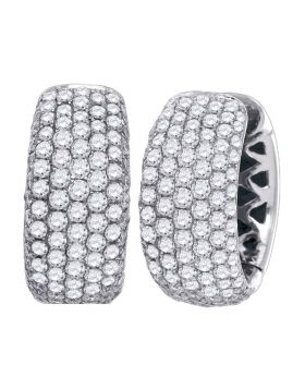 14kt White Gold Womens Round Pave-set Diamond Five Row Hoop Earrings 3.00 Cttw