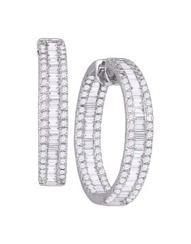 14kt White Gold Womens Baguette Round Diamond Inside Outside Hoop Earrings 3-1/3 Cttw