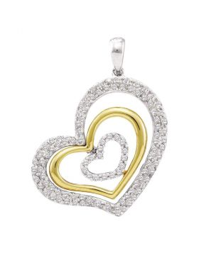 14kt White Gold Womens Round Diamond Heart Pendant 1/2 Cttw