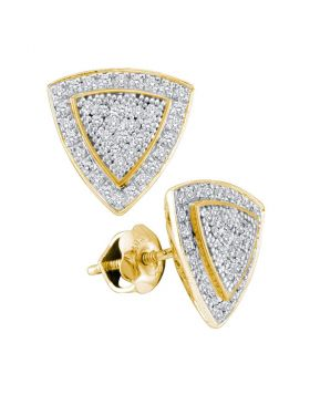 10kt Yellow Gold Womens Round Diamond Triangle Frame Cluster Earrings 1/4 Cttw