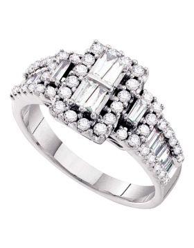 14kt White Gold Womens Baguette Diamond Rectangle Frame Cluster Ring 1.00 Cttw