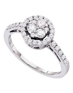 14kt White Gold Womens Round Diamond Slender Flower Cluster Halo Ring 1/2 Cttw
