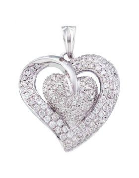 14kt White Gold Womens Round Diamond Heart Pendant 1.00 Cttw