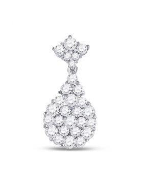 14kt White Gold Womens Round Diamond Cluster Pendant 1-1/3 Cttw