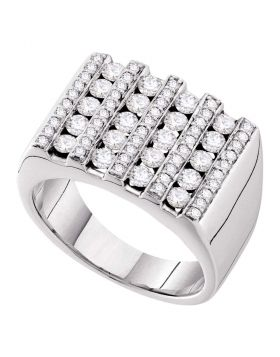 14KT WHITE GOLD ROUND CHANNEL-SET DIAMOND SQUARE STRIPE CLUSTER RING 1-1/2 CTTW