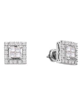 14kt White Gold Womens Princess Diamond Framed Square Cluster Screwback Earrings 3/4 Cttw