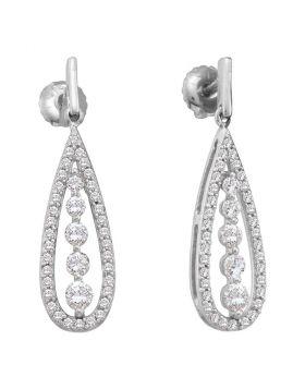 14kt White Gold Womens Round Diamond Teardrop Dangle Screwback Earrings 3/4 Cttw