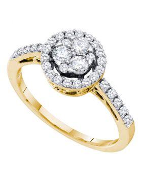 14kt Yellow Gold Womens Round Diamond Slender Flower Cluster Halo Ring 1/2 Cttw