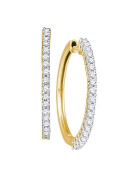14kt Yellow Gold Womens Round Pave-set Diamond Slender Single Row Hoop Earrings 1.00 Cttw
