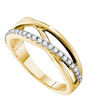14kt Yellow Gold Womens Round Diamond Crossover Band Ring 1/4 Cttw