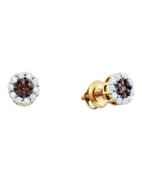 14kt Yellow Gold Womens Round Color Enhanced Brown Diamond Flower Cluster Earrings 1-1/2 Cttw