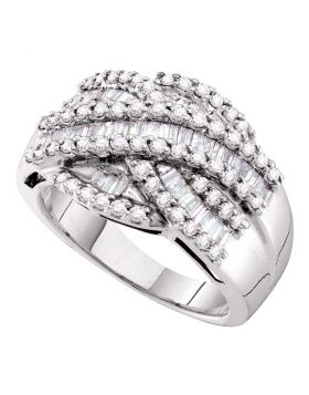 14kt White Gold Womens Baguette Round Diamond Crossover Band Ring 1.00 Cttw
