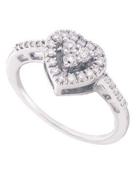 14kt White Gold Womens Round Diamond Heart Cluster Ring 1/3 Cttw