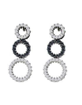 14kt White Gold Womens Round Black Color Enhanced Diamond Triple Circle Earrings 3/4 Cttw