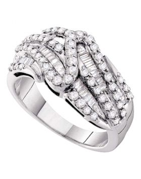 14kt White Gold Womens Round Pave-set Diamond Striped Fashion Band Ring 1.00 Cttw
