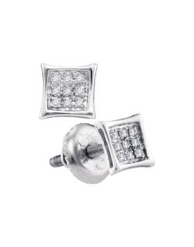 14kt White Gold Womens Round Diamond Square Kite Cluster Stud Earrings 1/20 Cttw