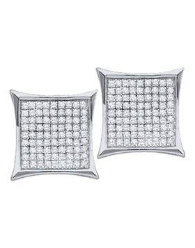 10kt White Gold Womens Round Diamond Kite Cluster Earrings 7/8 Cttw