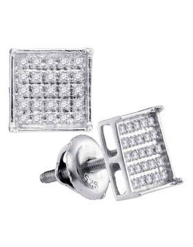 14kt White Gold Unisex Round Diamond Square Cluster Stud Earrings 1/6 Cttw