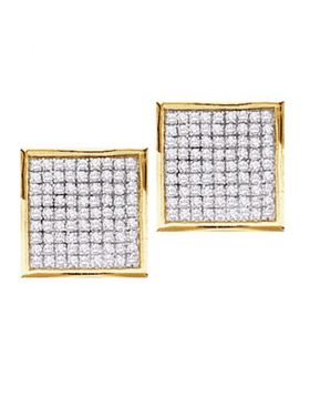 14kt Yellow Gold Womens Round Pave-set Diamond Square Cluster Earrings 7/8 Cttw