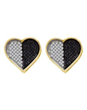 10kt White Gold Womens Round Black Color Enhanced Diamond Heart Screwback Earrings 1/4 Cttw