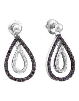 14kt White Gold Womens Round Black Color Enhanced Diamond Double Teardrop Dangle Earrings 7/8 Cttw
