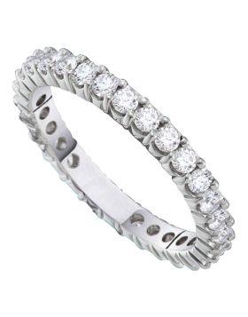 14kt White Gold Womens Round Pave-set Diamond Eternity Wedding Band 2.00 Cttw