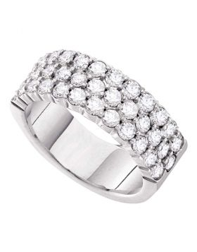 14kt White Gold Womens Round Pave-set Diamond Triple Row Wedding Band 1.00 Cttw