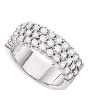 14kt White Gold Womens Round Diamond Wedding Band Ring 1-1/2 Cttw