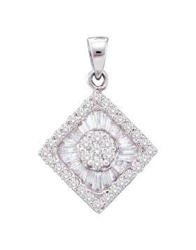 14kt White Gold Womens Round Diamond Diagonal Square Frame Cluster Pendant 7/8 Cttw