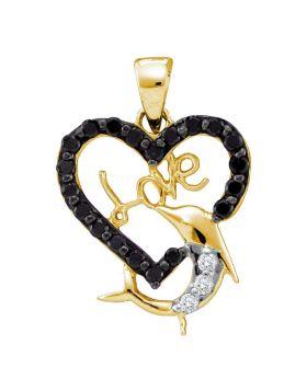 14kt Yellow Gold Womens Round Black Color Enhanced Diamond Heart Dolphin Love Pendant 3/8 Cttw