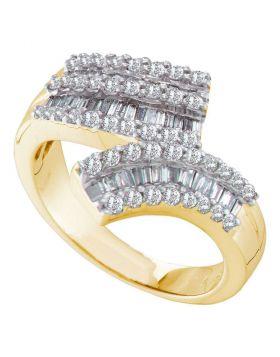 14kt Yellow Gold Womens Round Baguette Diamond Bypass Band 7/8 Cttw
