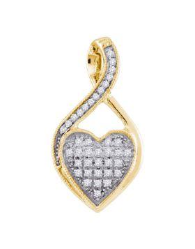 10kt Yellow Gold Womens Round Diamond Twist Heart Cluster Pendant 1/10 Cttw