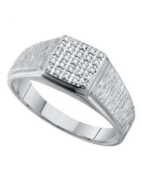 10KT WHITE GOLD ROUND DIAMOND SQUARE CLUSTER BRUSHED RING 1/8 CTTW